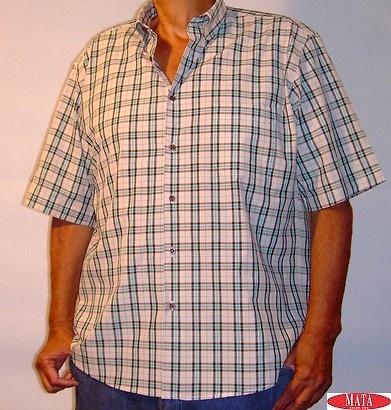Camisa hombre beig tallas grandes 11212