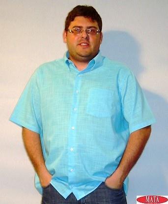 Camisa tallas grandes hombre azul turquesa 12614