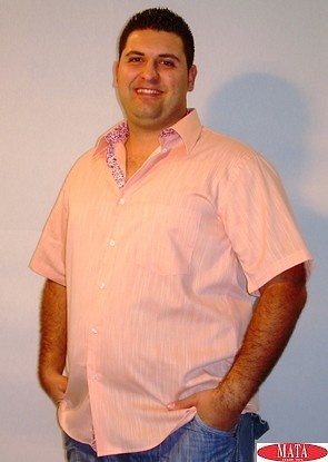 Camisa tallas grandes salmón hombre 12618