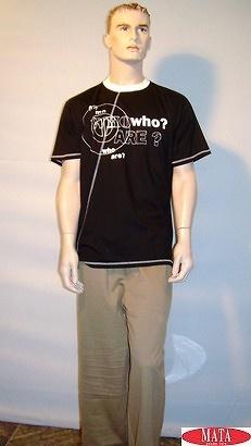 Camiseta Negro 10339 y pantalón chandal tabaco 04943