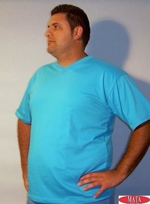 Camiseta hombre azul turquesa tallas grandes 01143