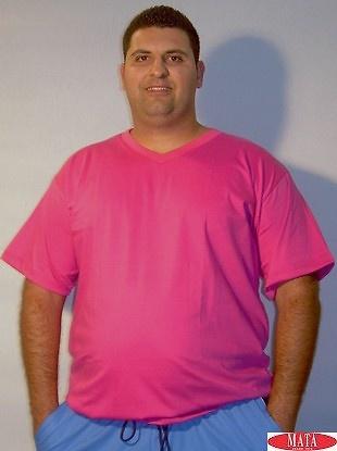 Camiseta hombre rosa tallas grandes 01143