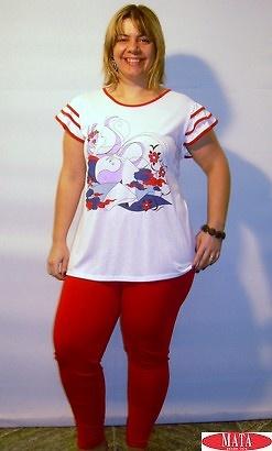 Legging ROJO mujer tallas grandes 10885 y camiseta blanco 10872