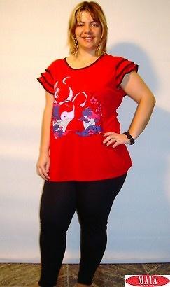 Legging NEGRO mujer tallas grandes 10885 y camiseta rojo 10872